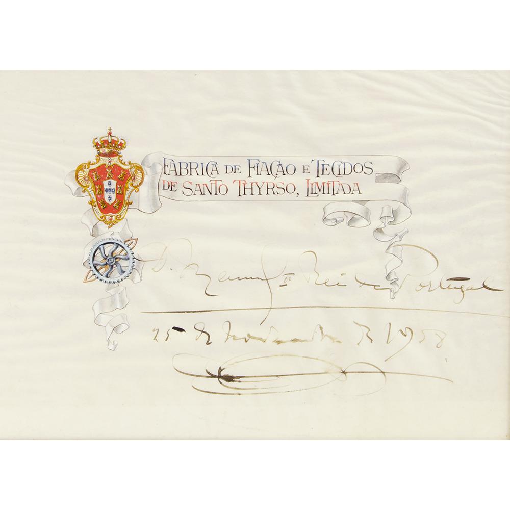 Quadro D. Manuel II – Autografo do rei na sua visita ao Norte de Portugal em 1908