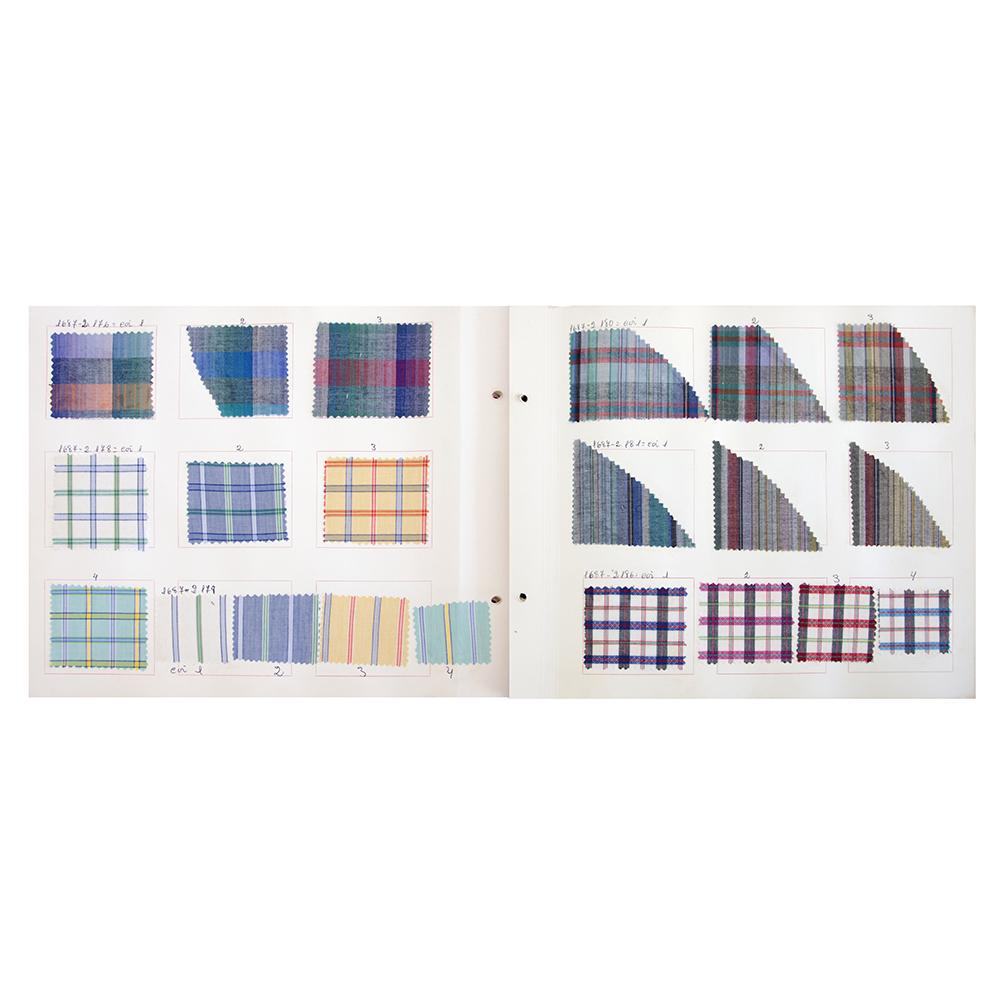 """Livro de amostras de tecidos """"Coleção primavera – Verão 85/86"""" – Informação técnica de tecelagem"""