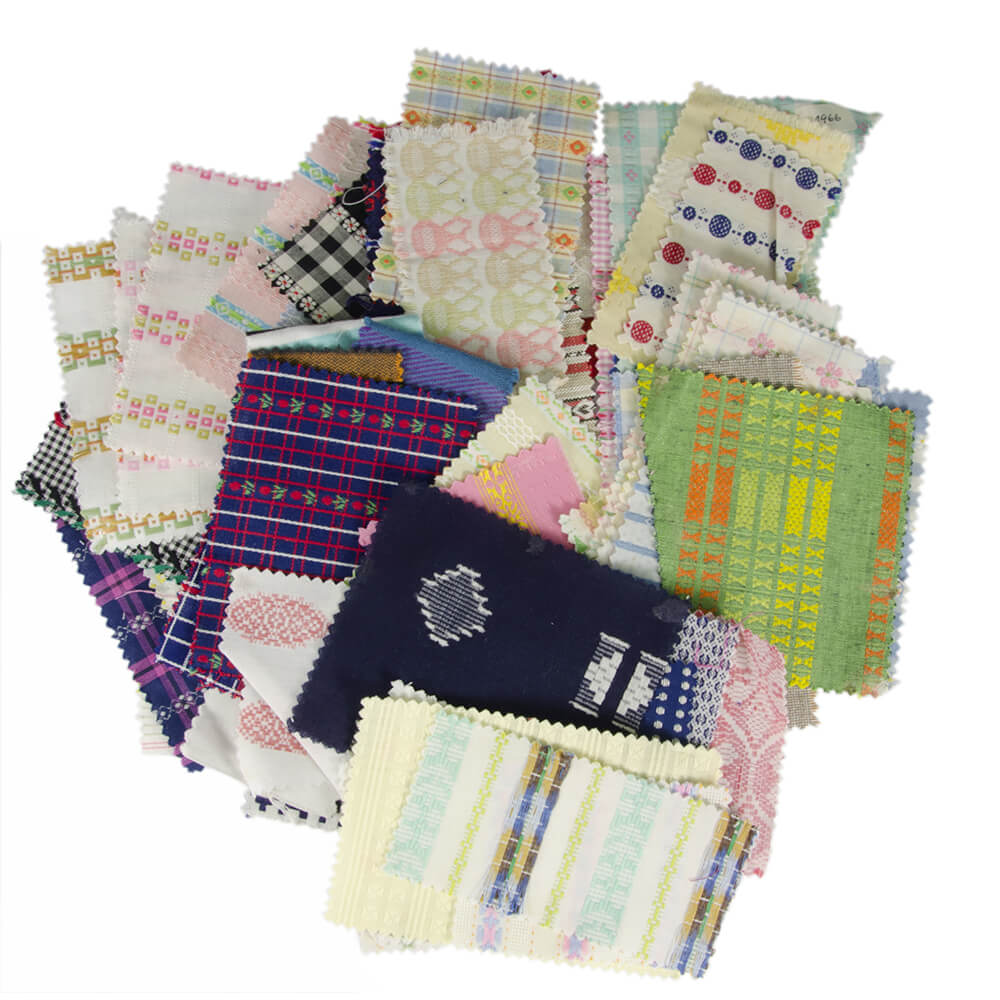 Idade Contemporânea 30 Amostras de tecidos de algodão – Documentação técnica da empresa (tecelagem)